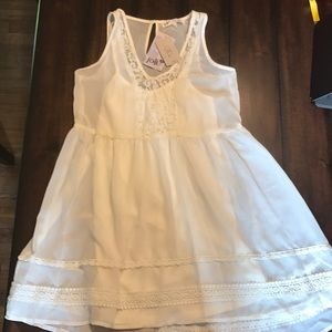 Jolt Ivory Sheer Lace Chiffon Baby Doll Dress Sz S